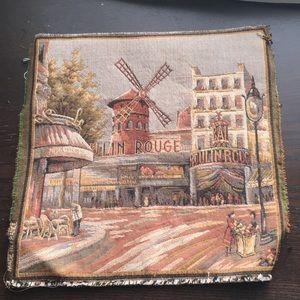 VTG Paris moulin Rouge woven square vase mat